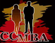 red,black, and brown logo with man and woman silhouette