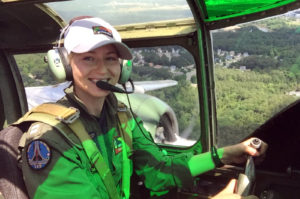 Lt. Rebecca Shaw flies the B-25 during Test Pilot School. Shaw will be the keynote speaker at the Women + STEM Conference = Infinite Possibilities Conference on April 1 at the College of Southern Maryland La Plata Campus.